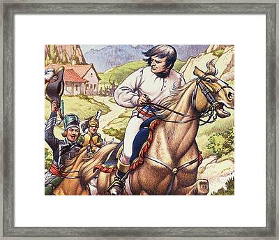 Napoleon Making A Narrow Escape With An Austrian Cavalry Patrol Close On His Heels Framed Print by Pat Nicolle