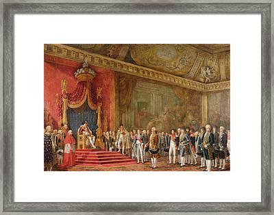 Napoleon Receiving The Delegation From The Roman Senate Framed Print by Innocent Louis Goubaud