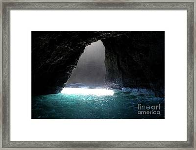 Napoli Coast Sunlit Cave In Kauai Framed Print