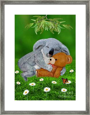 Naptime With Teddy Bear Framed Print