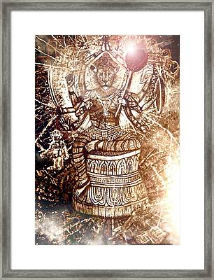 Illuminated Narasimha Dev In Sepia Framed Print by Michael African Visions