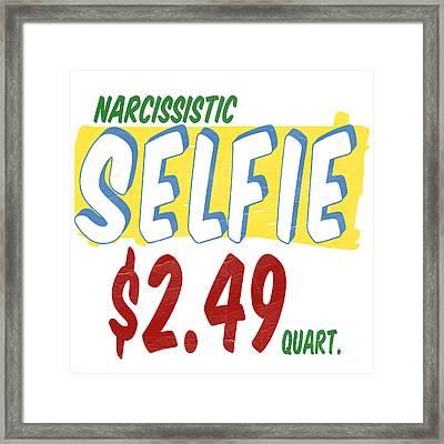 Narcissistic Selfie Supermarket Framed Print by Edward Fielding