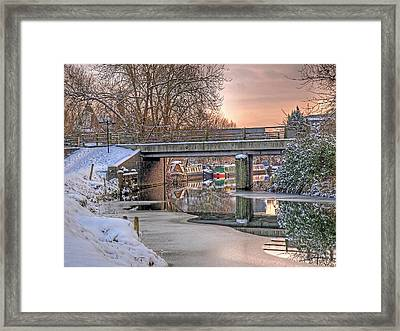Narrow Boats Under The Bridge Framed Print by Gill Billington