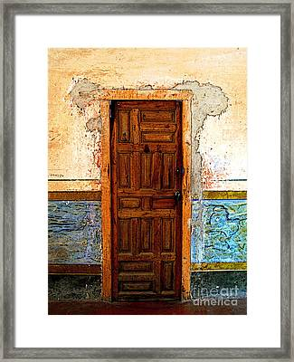 Narrow Door In The Blue Wall 2 Framed Print by Mexicolors Art Photography