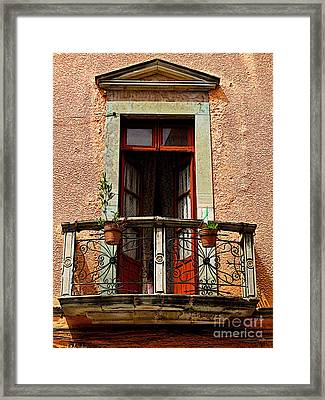 Narrow Red Window Framed Print by Mexicolors Art Photography
