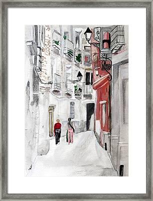 Narrow Street Framed Print by Cathy Jourdan