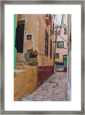 Narrow Street In Guanajuato, Mexico Framed Print