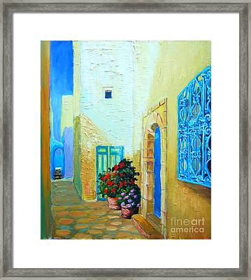 Framed Print featuring the painting Narrow Street In Hammamet by Ana Maria Edulescu