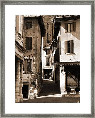 Narrow Streets Of Asolo Framed Print by Donna Corless