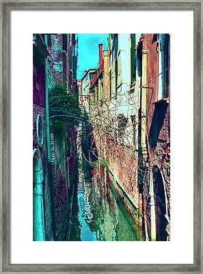 Narrow Water-street Of Medieval Venice Framed Print by George Westermak