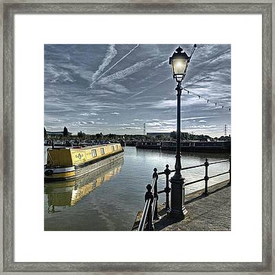 Narrowboat Idly Dan At Barton Marina On Framed Print