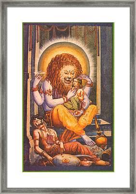 Narsimhavatar Water-color Painting,hindu Mythology,beautiful Artwork. Framed Print by A K Mundra