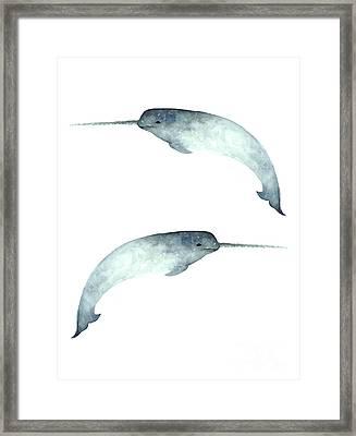Narwhal Poster Watercolor Art Print Painting Framed Print by Joanna Szmerdt