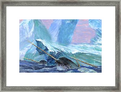 Narwhals Framed Print by Richard Hescox
