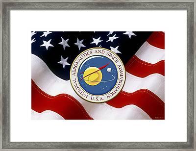 N A S A Emblem Over American Flag Framed Print