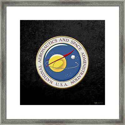 N A S A Emblem Over Black Velvet Framed Print by Serge Averbukh