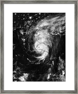 Nasa Hurricane Irma Between Cuba And Florida Satellite Image Framed Print