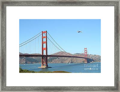 Nasa Space Shuttle's Final Hurrah Over The San Francisco Golden Gate Bridge Framed Print by Wingsdomain Art and Photography