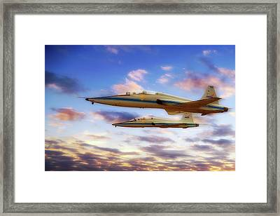 Framed Print featuring the photograph Nasa T-38 Talons At Sunrise - Pilot - Airplanes by Jason Politte