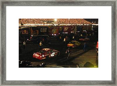 Nascar  - Juan Pablo Montoya Returns To Garages After Coke Zero 400 Framed Print