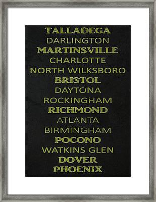 Nascar Track List Framed Print by Dan Sproul