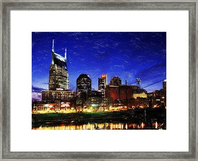 Nashville At Twilight Framed Print by Dean Wittle