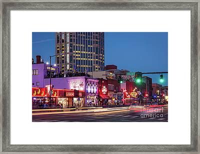 Framed Print featuring the photograph Nashville - Broadway Street by Brian Jannsen