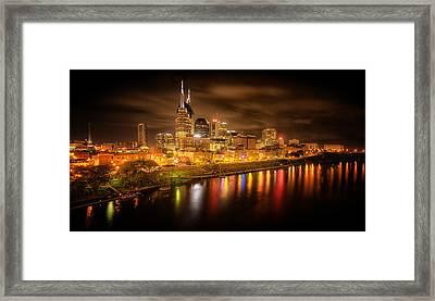 Nashville City Lights Framed Print by Stuart Deacon