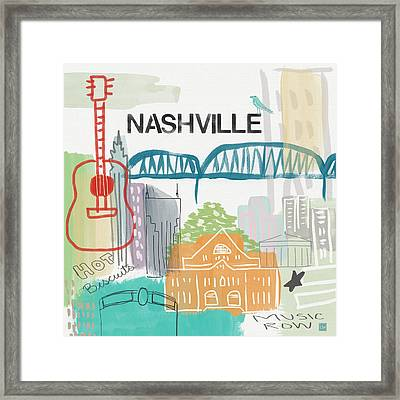 Nashville Cityscape- Art By Linda Woods Framed Print by Linda Woods
