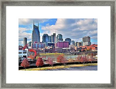 Framed Print featuring the photograph Nashville Clouds by Frozen in Time Fine Art Photography