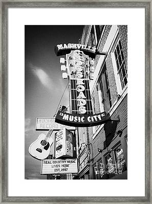 nashville crossroads music city ernest tubbs record shop on broadway downtown Nashville Tennessee US Framed Print by Joe Fox