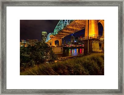 Nashville From Under Shelby Bridge Framed Print