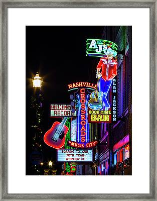 Nashville Neon Broadway Framed Print by Stephen Stookey