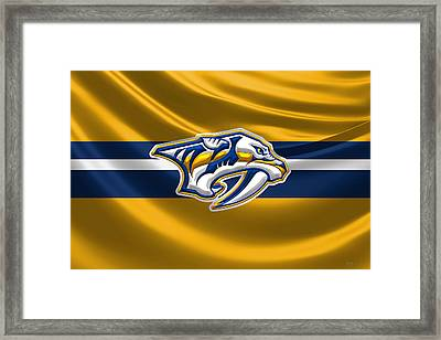 Nashville Predators - 3 D Badge Over Silk Flag Framed Print by Serge Averbukh