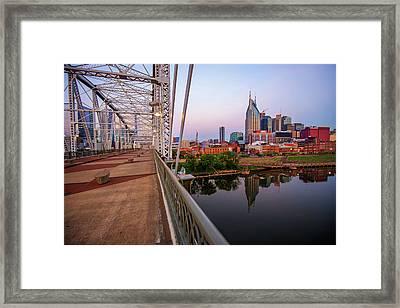Nashville Skyline And Pedestrian Bridge Framed Print
