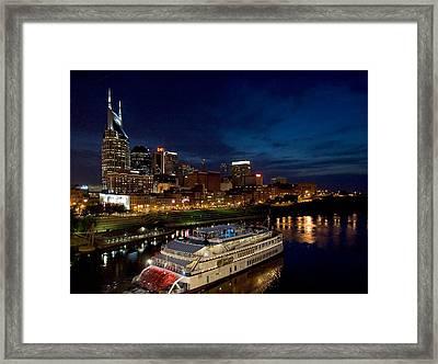 Nashville Skyline And Riverboat Framed Print by Mark Currier