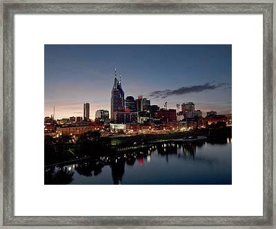 Nashville Skyline And The Cumberland Framed Print by Everett