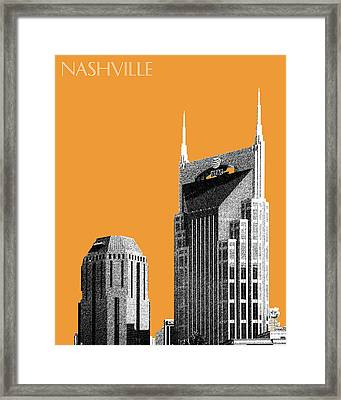Nashville Skyline At And T Batman Building - Orange Framed Print