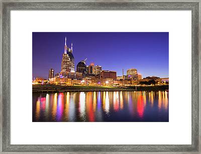 Nashville Skyline At Night On The Cumberland River Framed Print