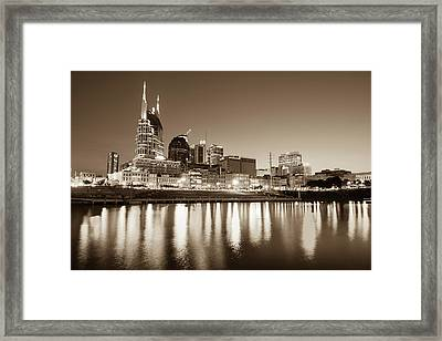 Nashville Skyline At Night On The Cumberland River Sepia Framed Print