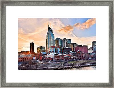 Nashville Skyline At Sunset Framed Print