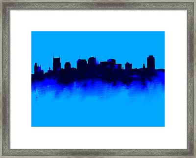 Nashville  Skyline Blue  Framed Print by Enki Art