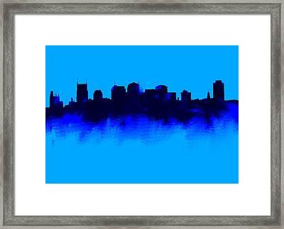 Nashville  Skyline Blue  Framed Print