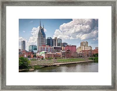 Nashville Skyline From The John Seigenthaler Pedestrian Bridge - Downtown Nashville Photograph Framed Print