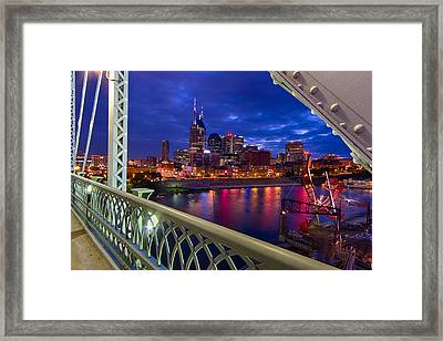 Nashville Skyline From Shelby Bridge Framed Print by Mike Burgquist