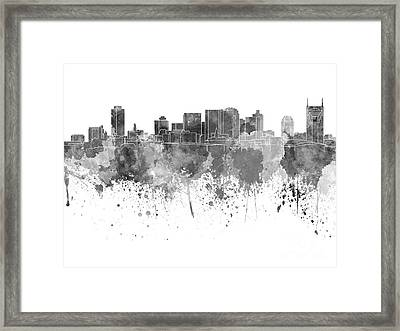 Nashville Skyline In Black Watercolor On White Background Framed Print by Pablo Romero