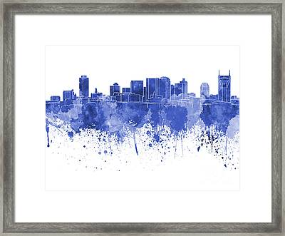 Nashville Skyline In Blue Watercolor On White Background Framed Print by Pablo Romero
