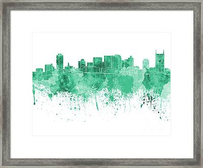 Nashville Skyline In Green Watercolor On White Background Framed Print by Pablo Romero