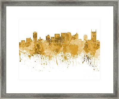 Nashville Skyline In Orange Watercolor On White Background Framed Print by Pablo Romero