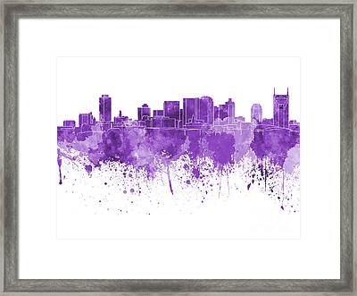 Nashville Skyline In Purple Watercolor On White Background Framed Print by Pablo Romero